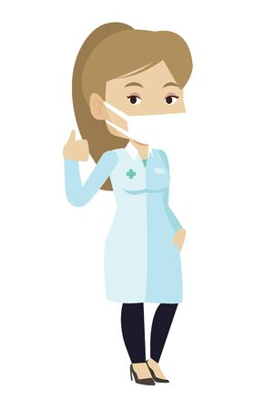 protective gown: Caucasian female doctor in mask giving thumbs up. Doctor in medical gown showing thumbs up gesture. Female doctor with gesture thumb up. Vector flat design illustration isolated on white background.