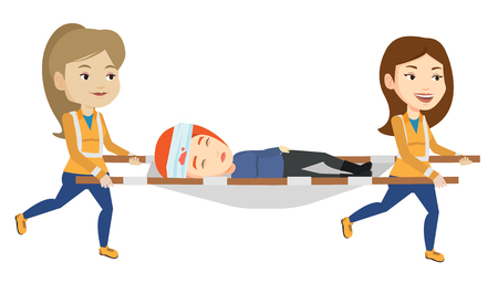 Caucasian emergency doctors transporting victim on the stretcher. Team of emergency doctors carrying injured woman on medical stretcher. Vector flat design illustration isolated on white background.