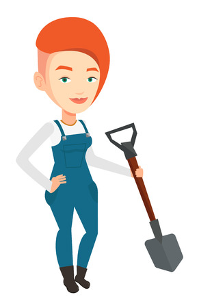 plow: An adult farmer standing with a shovel. Smiling caucasian farmer holding a shovel in hand. Farmer is going to plow an agricultural field. Vector flat design illustration isolated on white background.