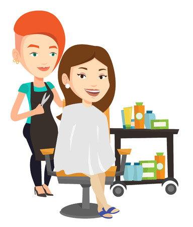hair saloon: Stylish hairdresser cutting hair of young woman in beauty saloon. Hairdresser making haircut to a client with scissors in beauty saloon. Vector flat design illustration isolated on white background.