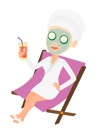 Woman with mask and towel on head lying in chaise lounge in beauty salon. Woman relaxing in beauty salon. Girl having beauty treatments. Vector flat design illustration isolated on white background.