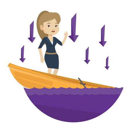 Young caucasian business woman bankrupt standing in sinking boat and arrows behind her pointing down symbolizing business bankruptcy. Vector flat design illustration isolated on white background. Illustration