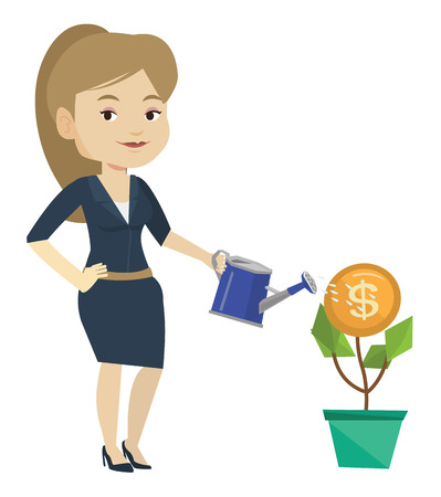 Business woman watering money flower. Woman investing in business project. Concept of investment money in business. Investment concept. Vector flat design illustration isolated on white background.