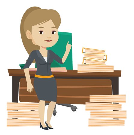 came: Woman pointing finger up on the background of lots of documents. Woman came up with the idea how to cope with large amount of documents. Vector flat design illustration isolated on white background. Illustration
