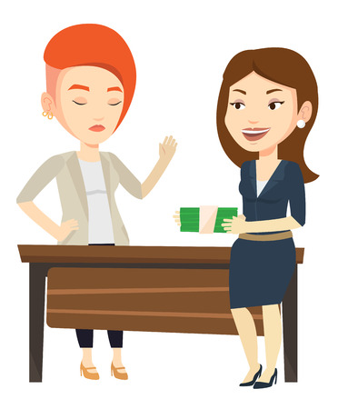 incorruptible: Caucasian businesswoman giving a bribe. Uncorrupted businesswoman refusing to take a bribe. Woman rejecting to take bribe. Bribery concept. Vector flat design illustration isolated on white background