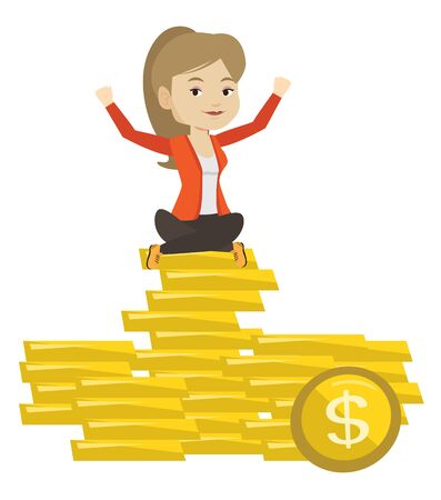 Caucasian happy business woman sitting on stack of golden coins. Cheerful business woman with raised hands sitting on pile of golden coins. Vector flat design illustration isolated on white background