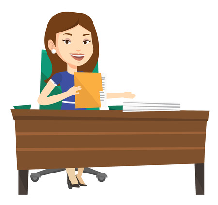 Caucasian office worker working with documents. Office worker sitting at the table with documents. Office worker inspecting documents. Vector flat design illustration isolated on white background. Illustration