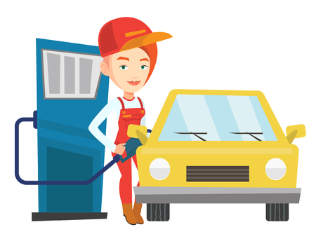Caucasian worker filling up fuel into the car. Female worker in workwear at the gas station. Young gas station worker refueling a car. Vector flat design illustration isolated on white background.