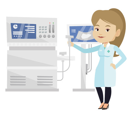 Young caucasian operator of ultrasound scanning machine analyzing liver of patient. Female doctor working on modern ultrasound equipment. Vector flat design illustration isolated on white background.