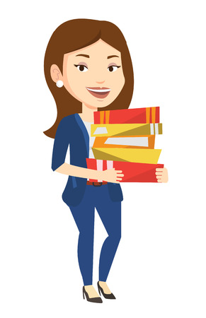 Caucasian woman holding a pile of educational books. Female student carrying huge stack of books. Student preparing for exam with books. Vector flat design illustration isolated on white background.