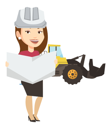 Caucasian engineer watching a blueprint at construction site. Female engineer with blueprint standing on the background of excavator. Vector flat design illustration isolated on white background. Иллюстрация