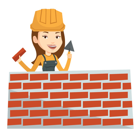 building wall: Bricklayer in uniform and helmet. Caucasian bicklayer working with spatula and brick on construction site. Bricklayer building brick wall. Vector flat design illustration isolated on white background.
