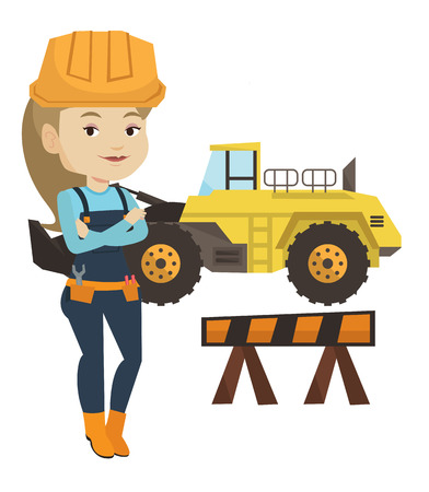 Young builder standing with arms crossed. Confident builder in hard hat. Caucasian builder standing on the background of road works. Vector flat design illustration isolated on white background.