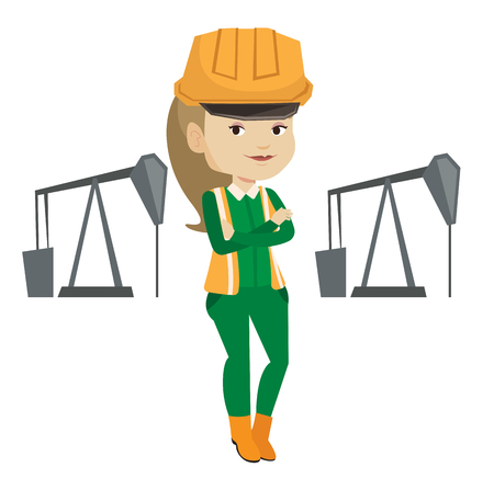 trabajador petroleros: Caucasian oil worker in uniform and helmet. Oil worker standing with crossed arms. Oil worker standing on the background of pump jack. Vector flat design illustration isolated on white background.