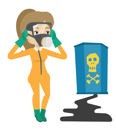 her: Concerned woman in radiation protective suit clutching her head. Woman in radiation suit looking at leaking barrel with radiation sign. Vector flat design illustration isolated on white background.