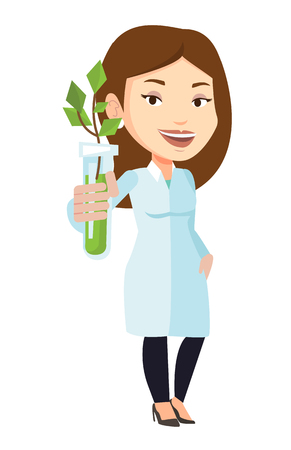 test tube: Scientist holding test tube with young sprout. Woman analyzing sprout in test tube. Laboratory assistant holding test tube with sprout. Vector flat design illustration isolated on white background.