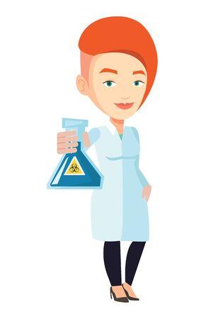 biohazard sign: Laboratory assistant holding flask with biohazard sign. Caucasian laboratory assistant in medical gown showing flask with biohazard sign. Vector flat design illustration isolated on white background. Illustration