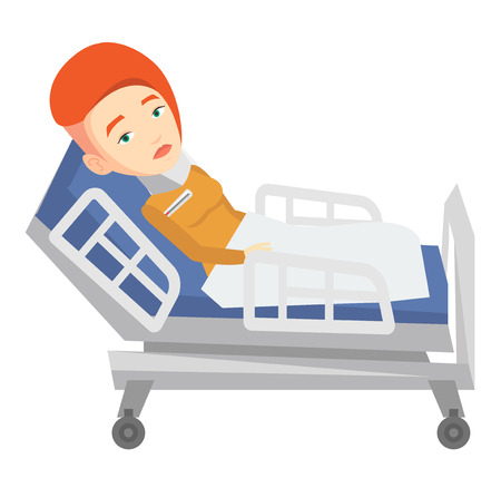 woman lying in bed: Caucasian woman wearing cervical collar and suffering from neck pain. Patient with injured neck lying in bed. Young woman with neck brace. Vector flat design illustration isolated on white background.