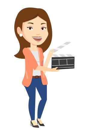 Happy caucasian woman working with a clapperboard. Smiling woman holding an open clapperboard. Woman holding blank movie clapperboard. Vector flat design illustration isolated on white background. Illustration