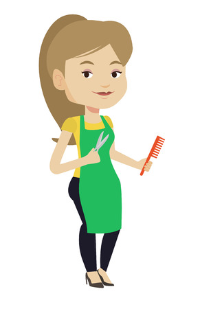 Full length of young female hairstylist holding comb and scissors in hands. Professional caucasian female hairstylist ready to do haircut. Vector flat design illustration isolated on white background.