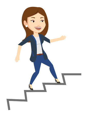 career ladder: Young caucasian business woman running up the career ladder. Happy business woman climbing the career ladder. Concept of business career. Vector flat design illustration isolated on white background. Illustration
