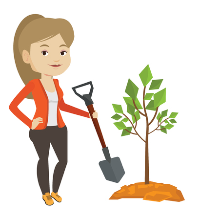 planted: Caucasian woman plants a tree. Woman standing with shovel near newly planted tree. Young woman gardening. Environmental protection concept. Vector flat design illustration isolated on white background