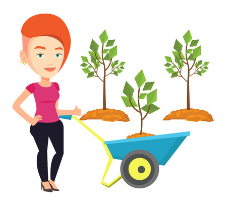 planted: Gardener pushing wheelbarrow with tree and dirt in the park. Caucasian gardener with wheelbarrow on the background of newly planted trees. Vector flat design illustration isolated on white background. Illustration