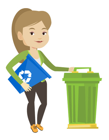 recycling: Young caucasian woman carrying recycling bin. Smiling woman holding recycling bin while standing near a trash can. Waste recycling concept. Vector flat design illustration isolated on white background Illustration