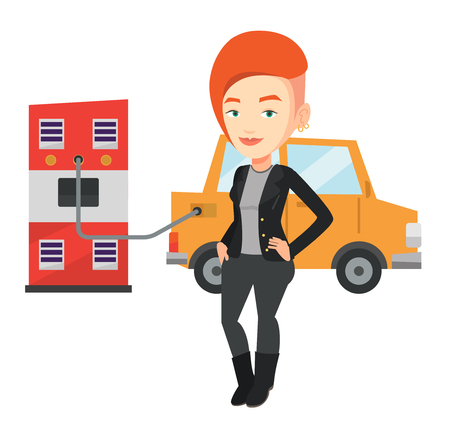 Caucasian woman charging electric car at charging station. Woman standing near power supply for electric car. Charging of electric car. Vector flat design illustration isolated on white background. Illustration