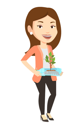 growing inside: Caucasian woman holding plastic bottle with plant growing inside. Girl holding plastic bottle used as plant pot. Plastic recycling concept. Vector flat design illustration isolated on white background Illustration
