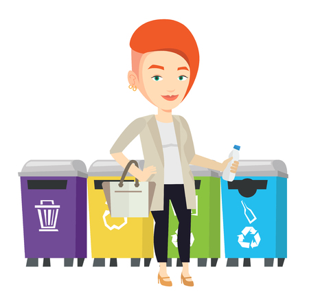 separacion de basura: Woman throwing away garbage. Woman standing near four bins and throwing away garbage in an appropriate bin. Concept of garbage separation. Vector flat design illustration isolated on white background.