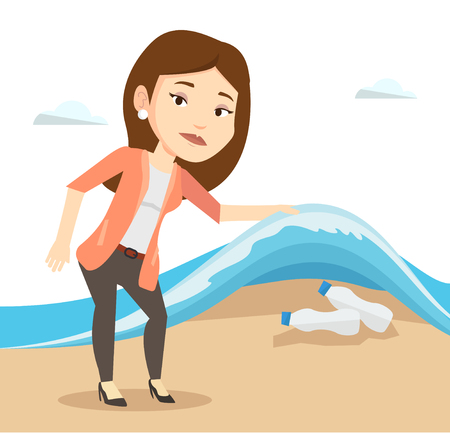 sea pollution: Young woman showing plastic bottles under water of sea. Woman collecting plastic bottles from water. Water and plastic pollution concept. Vector flat design illustration isolated on white background.