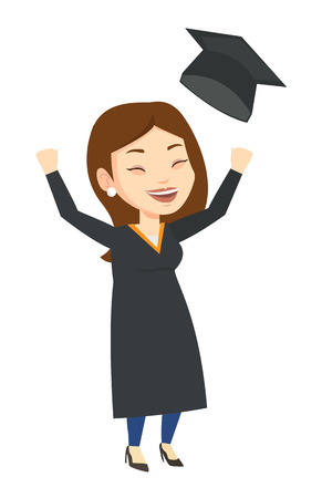 Excited graduate in cloak and graduation hat. Caucasian graduate throwing up hat. Cheerful female graduate with hands raised celebrating. Vector flat design illustration isolated on white background.