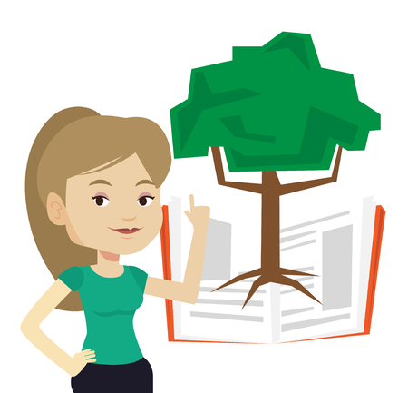 Caucasian student standing on the background of tree growing from open book. Student pointing at tree of knowledge. Concept of education. Vector flat design illustration isolated on white background. Illustration