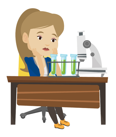 Disappointed student carrying out experiment in chemistry class. Female student clutching head after failed experiment in chemistry class. Vector flat design illustration isolated on white background. Иллюстрация
