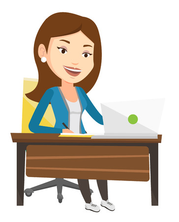using laptop: Caucasian student sitting at the table with laptop and writing notes. Student using laptop for education. Educational technology concept. Vector flat design illustration isolated on white background. Illustration