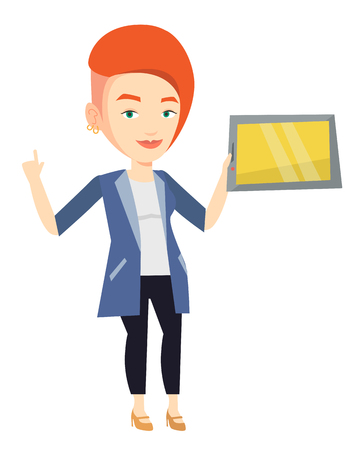Student using a tablet computer for education. Student holding tablet computer and pointing forefinger up. Educational technology concept. Vector flat design illustration isolated on white background. Illustration