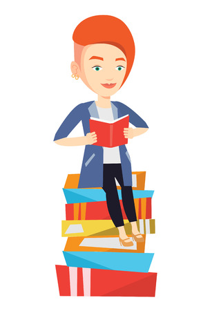 student reading: Young caucasian student sitting on huge pile of books. Student reading book. Smiling woman sitting on stack of books with book in hands. Vector flat design illustration isolated on white background. Illustration