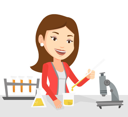 Happy student carrying out laboratory experiment. Student working with microscope at laboratory class. Student experimenting in laboratory. Vector flat design illustration isolated on white background