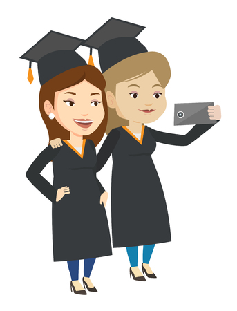 woman cellphone: Cheerful graduates in cloaks and graduation caps making selfie. Graduates making selfie with cellphone. Caucasian graduates making selfie. Vector flat design illustration isolated on white background.