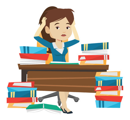overwhelmed: Stressed student studying with textbooks. Caucasian student studying hard before exam. Desperate female student studying in the library. Vector flat design illustration isolated on white background.