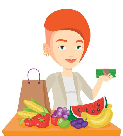 Caucasian female shopper standing at the table with grocery purchases. Shopper holding money in front of table with grocery purchases. Vector flat design illustration isolated on white background.