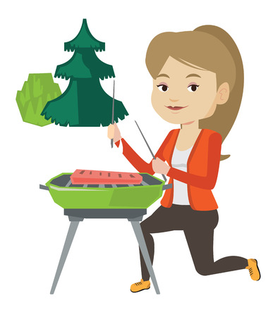 Woman cooking steak on barbecue grill. Illustration