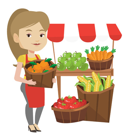 greengrocer: Street seller with fruits and vegetables. Illustration