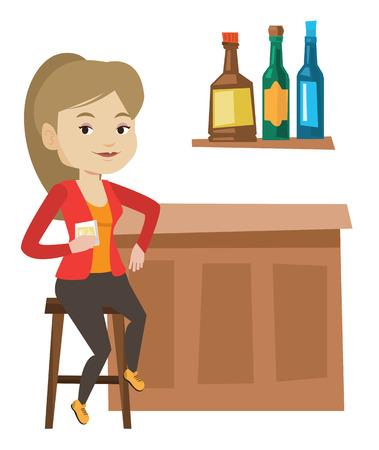 Woman sitting at the bar counter.