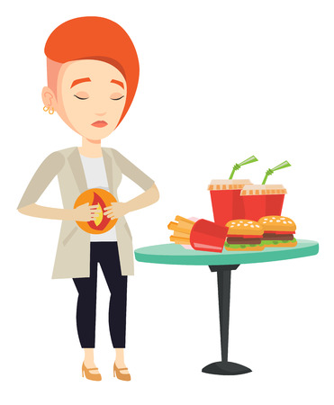 Woman suffering from heartburn. Caucasian sad woman having stomach ache from heartburn. Upset woman having stomach ache after fast food. Vector flat design illustration isolated on white background.