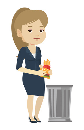 Caucasian woman putting junk food into a trash bin. Young woman refusing to eat junk food. Woman rejecting junk food. Diet concept. Vector flat design illustration isolated on white background. Illustration