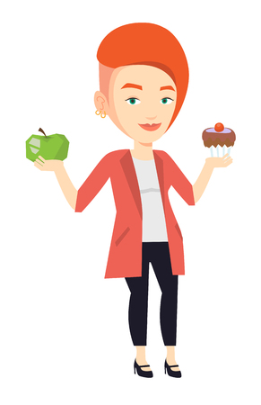 choosing: Woman holding apple and cupcake. Woman choosing between apple and cupcake. Concept of choice between healthy and unhealthy nutrition. Vector flat design illustration isolated on white background.