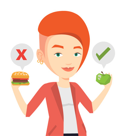 choosing: Woman choosing between hamburger and cupcake.