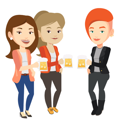 clinking: Group of friends enjoying beer at pub. Illustration